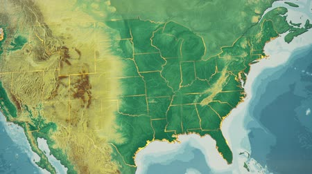 bordas : USA Map, Kentucky pull out, all 50 states available. Transition from natural colors to a vintage look. The states' borders glow and flicker. No names or letters, so you can insert own graphics and fonts. For news, documentaries, info, elections, etc. Vídeos
