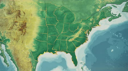 Észak amerika : USA Map, North Carolina pull out, all 50 states available Transition from natural colors to a vintage look. The states' borders glow and flicker. No names or letters, so you can insert own graphics and fonts. For news, documentaries, info, elections, et Stock mozgókép