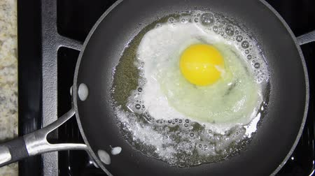 треснувший : Egg being cracked into a sizzling hot frying pan then cooked to perfection  Стоковые видеозаписи