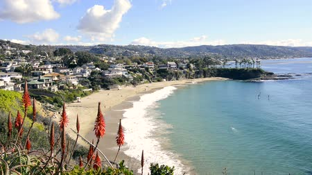 Калифорния : A beautiful cliff side view of Crescent Bay Beach in Laguna Beach, California shows the scenic, turquoise water and the white sand beach.