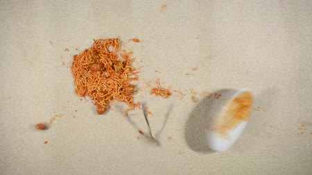 plama : Slow motion video of a spilling plate of spaghetti on clean, white carpet