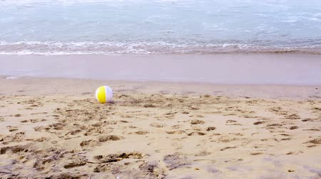 yuvarlanma : A colorful, summertime beach ball rolls across the sandy beach while being pushed by the ocean's gentle, warm breeze.    Stok Video