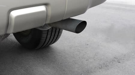 skleník : Exhaust from the tailpipe of a car shows the carbon monoxide being released into the environment. Dostupné videozáznamy