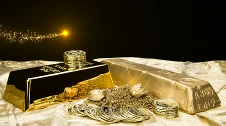złoto : A lucky gold shooting star flows above a pile of gold in various forms including dust, nuggets, bar, ingot and coins.