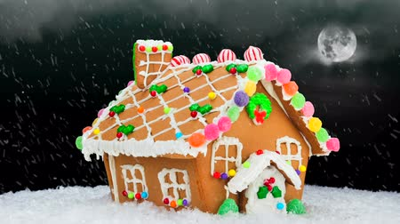 mézeskalács : A gingerbread house during a cold, snowy Christmas evening shows a festive setting with a cloudy, black sky, bright moon and delicious cookie decoration. Stock mozgókép