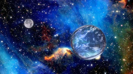 bolygók : Zooming through space with a beautiful galaxy behind the planet earth and the moon. Stock mozgókép