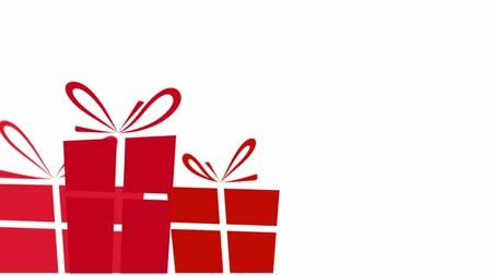 přítomný : Animated red Christmas presents on a white background with plenty of copy space for text or graphics.