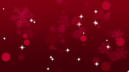 deep snow : Red falling snowflakes with white stars on a deep red gradient for use as a holiday background.