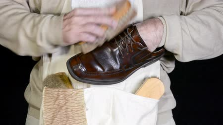 brilhar : Polishing a brown dress shoe using a horsehair brush to give the fine leather a nice shine. Stock Footage