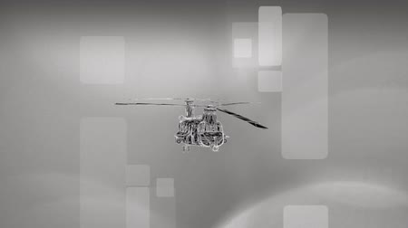 şematik : A rotating helicopter rendering against a futuristic background for use in any military or advanced technology needs.