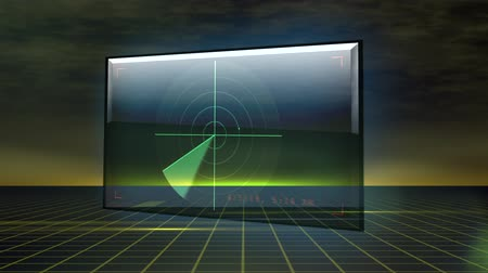 algılayıcı : A radar on a monitor floats over a futuristic grid while a small object moves through radar screen. Stok Video