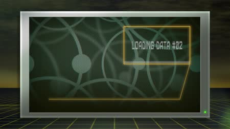 teste : A futuristic setting of a monitor showing a metal grid-like background while the computer loads analytical data for analysis.