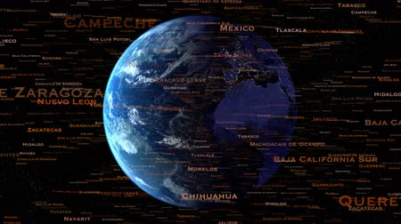 evolução : Names of world locations, cities, states and countries exploding out from a rotating earth can be used for population or emigration inferences or any other subject such as politics.