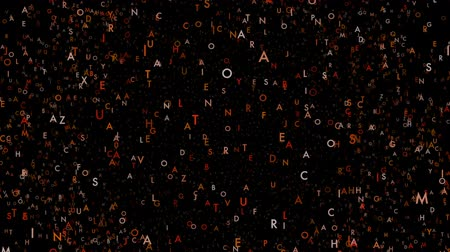 разброс : Floating letters in space rotate randomly against a black background. Can be used as a learning inference backdrop or for critical thinking messaging.