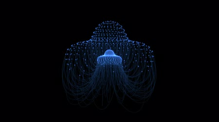 ondulações : A computer generated undulating jellyfish with blue lines connected to bright nodes undulates to a beautifully flowing pattern. Video is prepared for seamless looping.