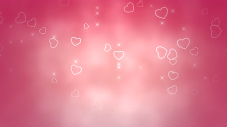 pettyes : A beautiful pastel pink Valentines video background with falling white heart outlines and twinkles framed against a mottled pink and white defocused background.