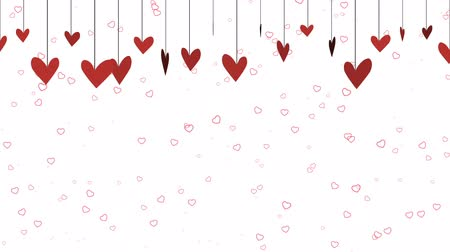 animação : A fun, cartoonish Valentines background video with dangling red hearts across the top and a white background perfect for placement of copy and for use as a design element for weddings or for romantic occasions.