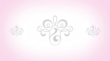 florido : A pink computer generated animated background with flower designs, a subtle white spotlight and forming shapes for use to place text or other graphics.
