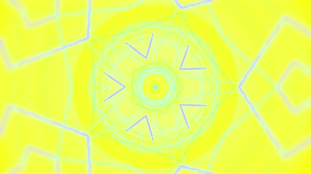 ve tvaru : Psychedelic clip showing the formation of colorful blue shapes and lines complementary color mixes and unique patterns on a yellow background for use as retro 1970 style backgrounds or general backdrops for screen savers and wallpaper. Dostupné videozáznamy