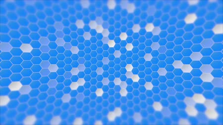 elements : Computer generated random white, blinking, distorted squares flashing on blue background for use as a desktop screen saver, text overlay, or subtle design element background for corporate presentations.
