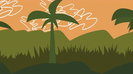 karikatura : A panning animated cartoon of a palm tree in a tropical rainforest with green foliage and an orange sky.