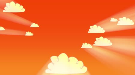 nuvens : A panning animated cartoon of clouds drifting across an orange sky