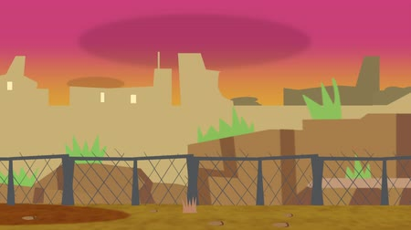 руины : Animated cartoon of an old run down city in front of a fenced off border during sunset slowly pan in to show a cityscape of ruin.