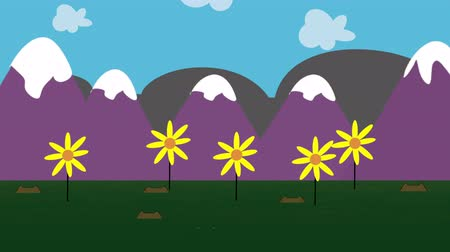 jardim : An animated cartoon of colorful garden daises against a mountain background as clouds drift by in the sky.