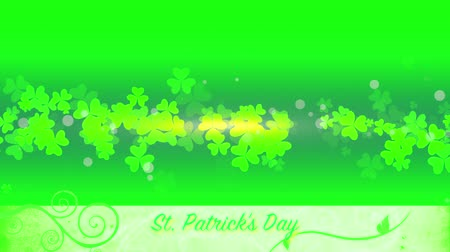 patrik : St. Patricks animated clovers against a green and yellow vignette background. For use as a general backdrop, design element or as an overlay for placement of text or other copy.