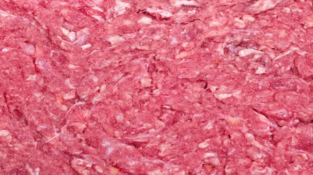 grubas : Pan across the surface of raw beef hamburger meat Wideo