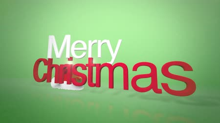 градиент : A green subtle animated background clip with Merry Christmas animated text for holiday messaging