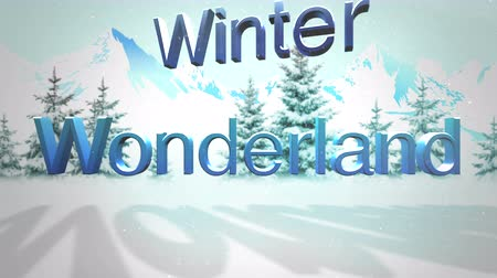 harikalar diyarı : An animated snowy forest background with winter wonderland text for use as a holiday messaging clip Stok Video