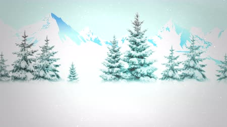 holidays : An animated snowy forest background for copy placement as a holiday messaging clip