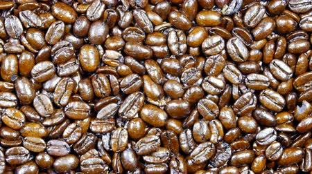 foods : Freshly roasted Columbian coffee beans rotating on a large cooling pan for use as a coffee design element or background. Stock Footage