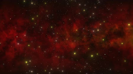 czerwone tło : A deep space red nebula with stars moving through the universe offers ample space for copy and other design elements. Wideo