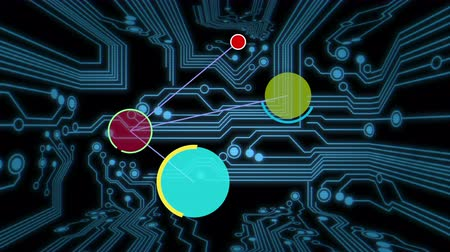 płytka drukowana : Animated computer nodes moving to new calculated positions against a circuit board background.
