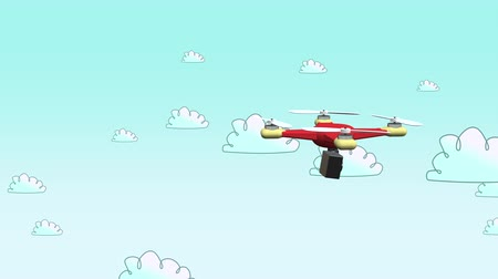 letectví : An animated drone flies through a blue sky while shooting video with its mounted aerial cam.