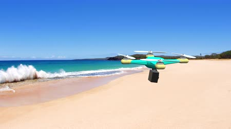 tropický : An animated drone flies over a tropical beach while shooting video with its mounted aerial cam.