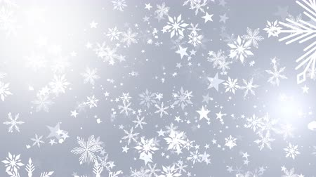 sniezynka : Christmas background of winter snowflakes falling slowly down a white, festive gradient