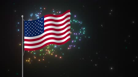 четверть : A vibrant, colorful animated fireworks display framed against a starry night sky with an American flag flying in the air, a symbol patriotism and the July fourth holiday. Стоковые видеозаписи