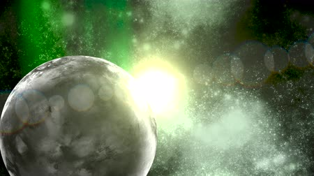 блестящий : Deep space frontier shows a planet among a massive galaxy system surrounded by green gaseous formations and bright stars that animate the heavens.