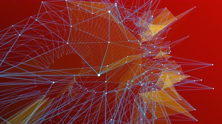 conectado : Blue abstract lines with white nodes form in a pattern with shaded insets against a red background.