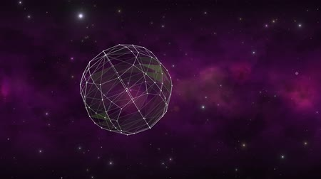 вихрь : A sphere made of animated connected lines shows the shape rotating and transforming against a dark purple galaxy in outer space.