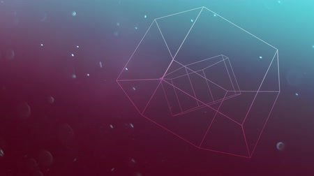 hexágono : A floating three-dimensional hexagon shape rotates against a red and blue background as dust particles move throughout the animation