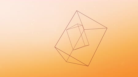 mértan : Floating three-dimensional prisms move against a pastel orange background as dust particles move throughout the animation Stock mozgókép