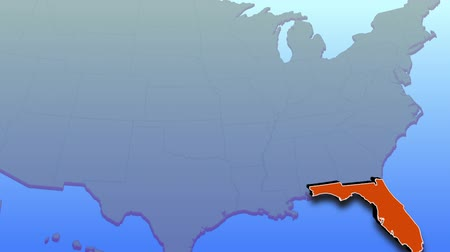 východní : An animation of the United States shows an emphasis on Florida as the state takes on its own form.