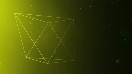 tapeta : Floating three-dimensional pyramids move against a yellow background as dust particles move throughout the animation Wideo