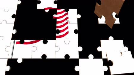 jigsaw : Multiple white puzzle pieces connect randomly to show a swaying, animated American flag
