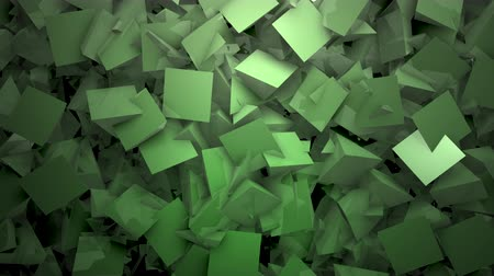 um objeto : Three-dimensional triangular reflective block shapes toned in a subtle green hue. Good for a background design element, computer wallpaper or screen saver. Stock Footage