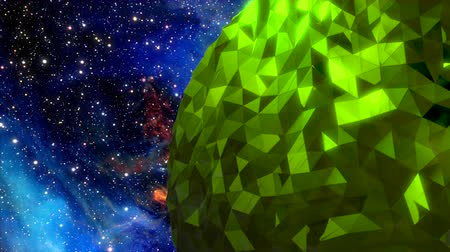 pozisyon : A rotating green planet made of reflective random pieces of space debris against a deep space background.